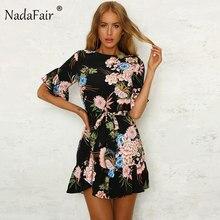 470e8b24e Nadafair negro rojo verde cuello en O con estampado Floral y nudo suelto verano  vestido de