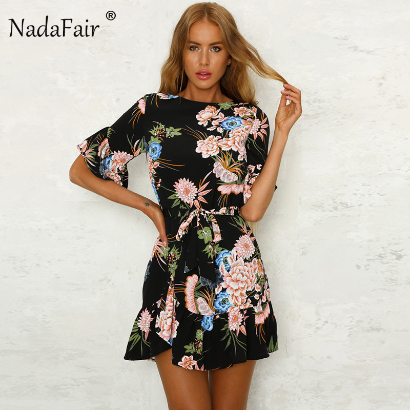 Nadafair O Neck Floral Print Knot Loose Summer <font><b>Dress</b></font> Women Casual Holiday Ruffles Short Sleeve Mini <font><b>Dress</b></font>