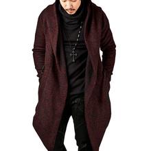 Męskie kurtki z kapturem z bawełny jesienne zimowe ciepłe miękkie grube nieregularna modna kieszeń długie ubrania z dzianiny Casual męski sweter tanie tanio CN (pochodzenie) Otwórz Stitch 1124 STANDARD NONE Poliester Luźne Stałe Na co dzień Golfem Konwencjonalne