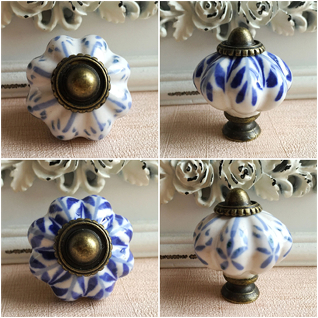 Blue and White Furniture Drawer Handles Pumpkin Ceramic Cabinet ...