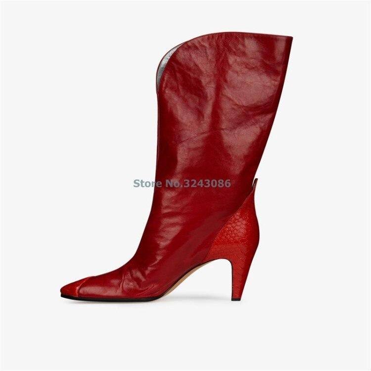 Vermelho PU Em Relevo Design Gato Chelsea Calcanhar Apontado Botas de Camurça PU Patchwork Moda Meados de Bezerro Botas Frente V Profundo Sexy botas - 2
