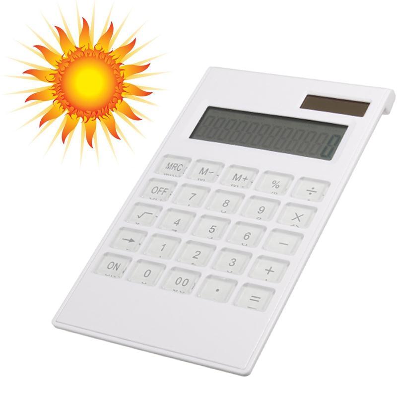 New Slim Portable 12 Digital Calculator Solar Power Energy Crystal Keyboard Battery Dual Power Electronic Calculator