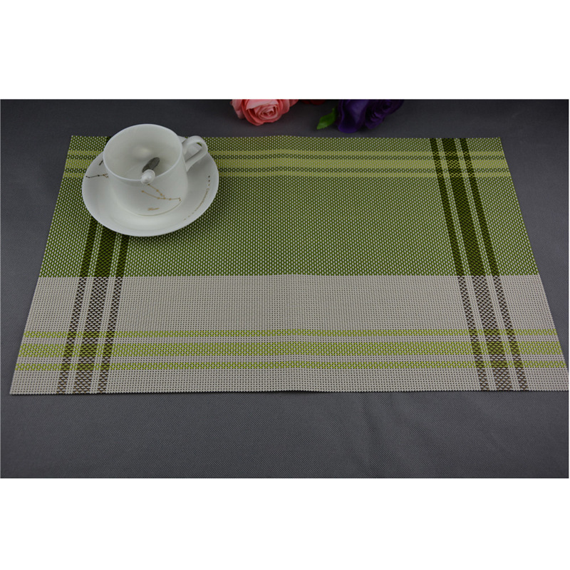 Home Kitchen Dining Placemat Bowl Pad Fashion Adiabatic Pvc Strip Weave Table Mat Silicone Mats Dining Mat