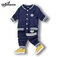 Boys Brand Baseball Clothing Sets Print StripesTracksuit Pants 2pcs Girl Cotton Coat Sport Football Sweatshirt Baby
