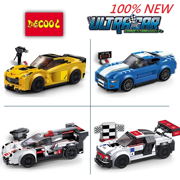 Decool R8 R18 GT Z06 Speed Champions Racing car TOYS FOR CHILDREN Building Blocks Action Figures FIT LEPIN LEGO Techinc LPS 8 in 1 military ship building blocks toys for boys