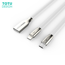 TOTU 2-in-1 line for iPhone and Micro X Android C-c mobile phone USB cable fast charging Data
