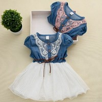 Free Shipping 2015 New Fashion Baby Lace Belt Girls Tutu Children Cowboy Patchwork Knitted Dresses