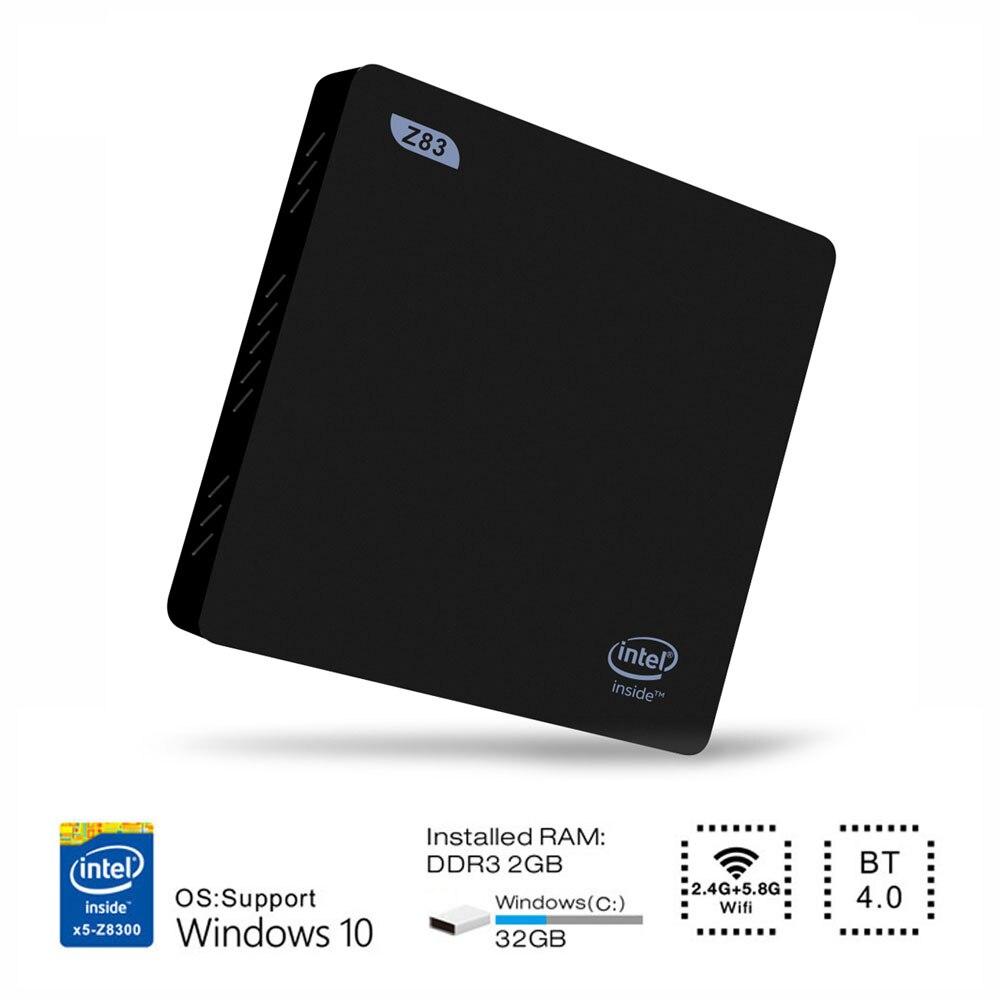 Z83II Smart TV Box 2G 32G BT 4.0 Intel Atom x5-Z8350 Quad Core 64bit 2.4G + 5.8G WiFi Set-Top Box 1000M LANMini PC mesuvida z83ii mini pc tv box for intel atom x5 z8350 quad core windows 10 64bit 2 4g 5 8g wifi ram 2g ddr3l rom 32g set top box