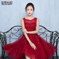 2016 Robe De soirée Red partida encaje hendidura vestidos cortos De cóctel De lujo Formal De baile vestido De borgoña Prom vestidos rougeGT05