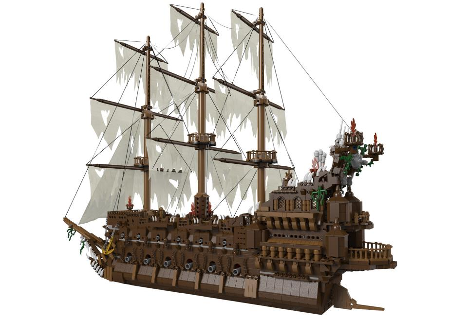 NEW Movies Series MOC The Flying the Netherlands Building Blocks Pirate ship Model Educational Brick Toys Compatible with Lepin lepin 16042 2344pcs building blocks set new pirate ship series the slient mary set model gift 71042 educational christmas toys