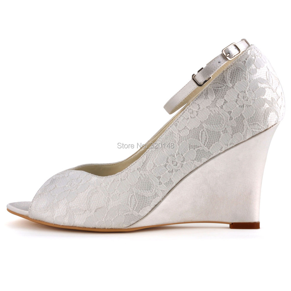 Woman Wedge Shoes White Ivory High Heel Peep Toe Ankle Strap Lace ...
