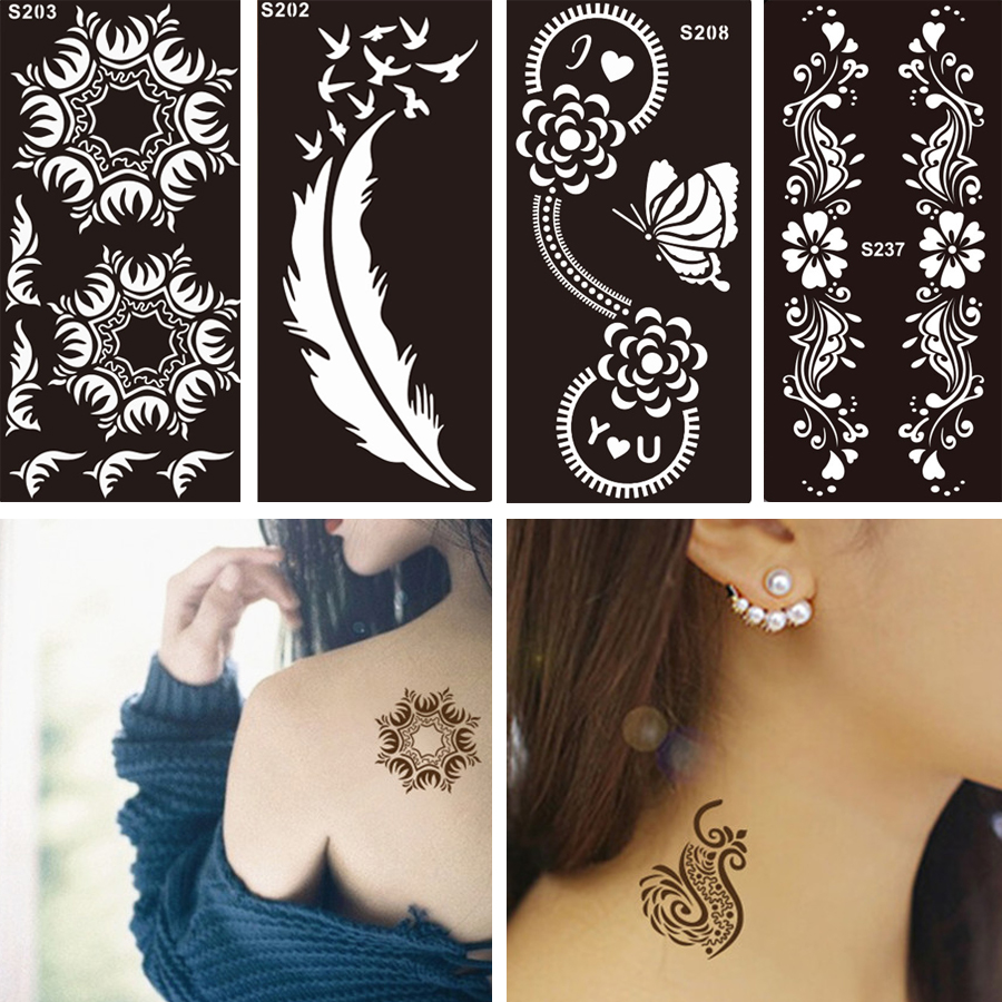1 PC Disposable Black Fake Henna Indian Arabic Stencil Tattoo Lace Wedding Women Body Art Paint Tattoo Sticker Designs Temporary
