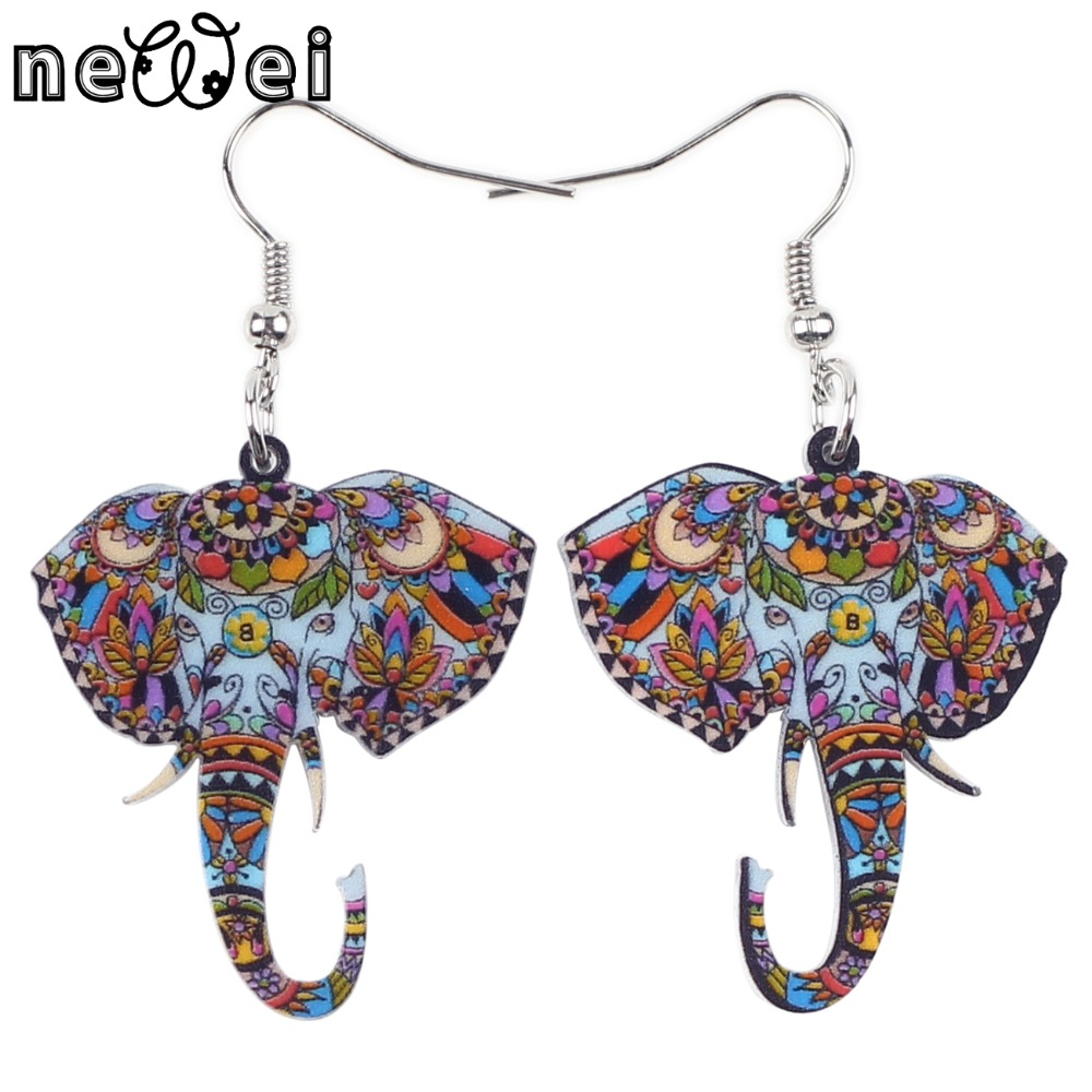 Bonsny Cute Big Long Animal Acrylic Dangle Drop Elephant Earrings 2016 News Style Dangle ...