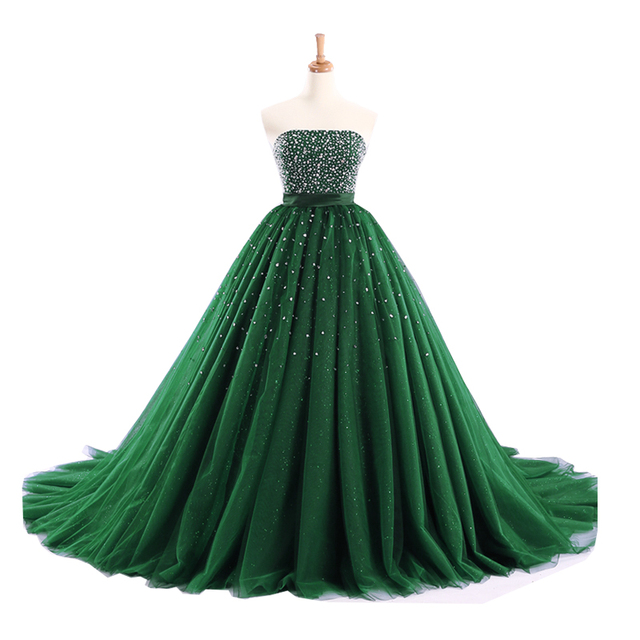 Long Prom Dress Elegant Boat Neck Sparkly Beaded Bling Bling Crystals Ball Gown Puffy African Emerald Green Prom Dress