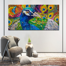 SELFLESSLY Big Size Colorful Peacock Canvas Painting Wall Art Poster Prints Abstract Animal Decorative Pictures For Living Room