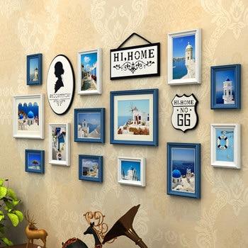 13 pçs/set Estilo Vintage Photo Frames, Azul Branco Preto Conjuntos de Quadros de Imagem, Imagem Quadro de Parede De Madeira, Familly Collage Photo Frame