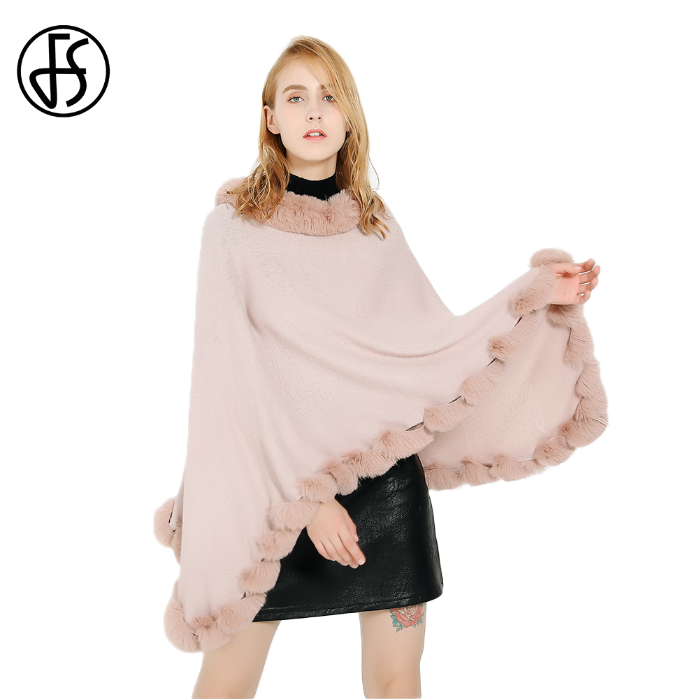 FS Pink Cashmere Ponchos And Capes Fur Collar Pashmina Shawl With Pompom Warm Vintage Blanket Scarf Wrap For Ladies Pullover