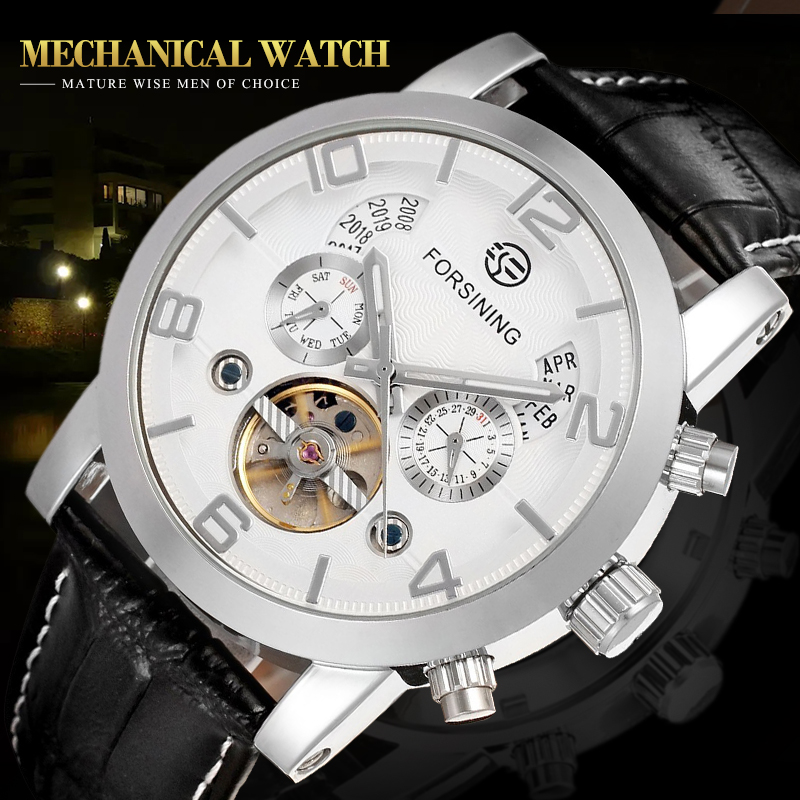 FORSINING Self-winding Mechanical Watch Men Luxury Fashion Brand Dress Date Day Watches Gift White Genuine Leather FSG165M3S3 tevise fashion auto date automatic self wind watches stainless steel luxury gold black watch men mechanical t629a with tool