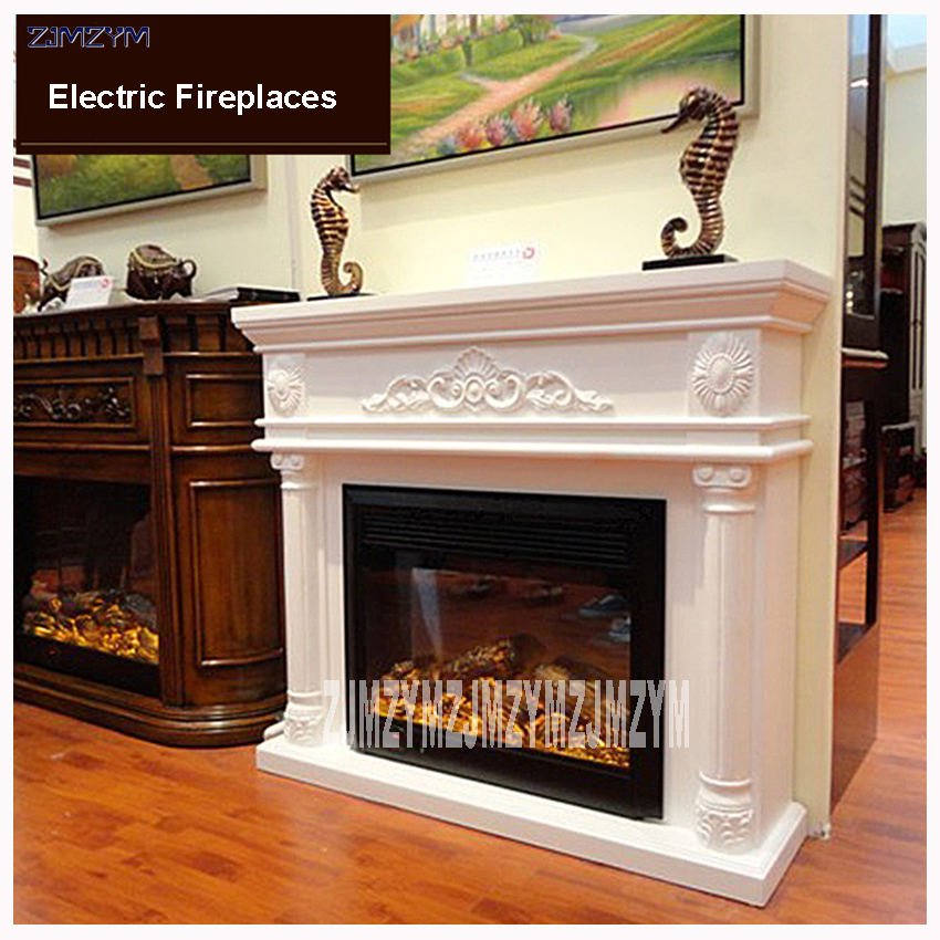 GF163 Living Room Decoration Heating Fireplace W120cm Wooden Shelf Electric Fireplace Chimney Insert LED Artificial Flame 220V hearth