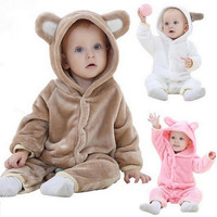 Infant Romper Baby Boys Girls Jumpsuit Bear New Born Bebe Clothing Hooded Toddler Baby Clothes Cute