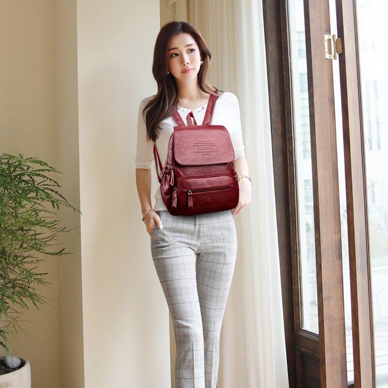 HTB1RmVEfFkoBKNjSZFEq6zrEVXa8 2019 Vintage Leather Backpacks Female Travel Shoulder Bag Mochilas Women Backpack Large Capacity Rucksacks For Girls Dayback New