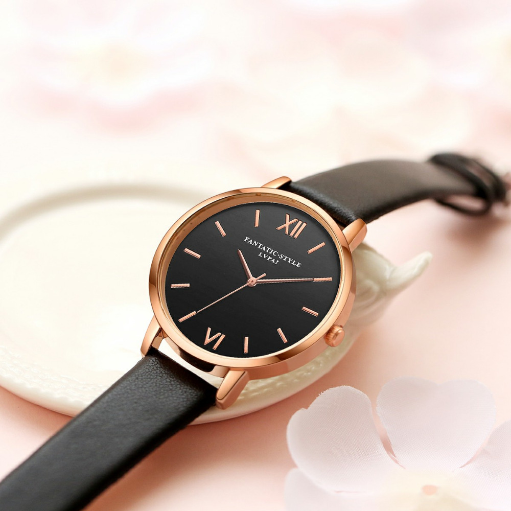 Black Leather Rose Gold Women WristWatches   1