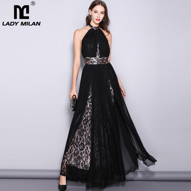 Lady Milan Women's Runway Designer Dresses Sexy Halter Sleeveless Embroidery Lace Open Back Fashion Long Party Prom Maxi Dresses
