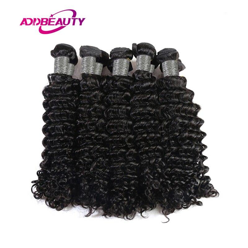Addbeauty 10Pcs Lot Deep Wave Peruvian 100% Human Remy Hair Extension Bundles Deal Weave Natural Color Machine Double Weft