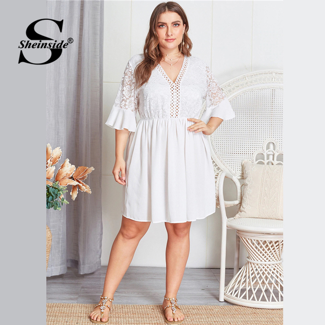 Sheinside Plus Size Contrast Lace Hollowed Out V Neck Dress Women 2019 Summer Flounce Sleeve Dresses Ladies A Line Dress 4