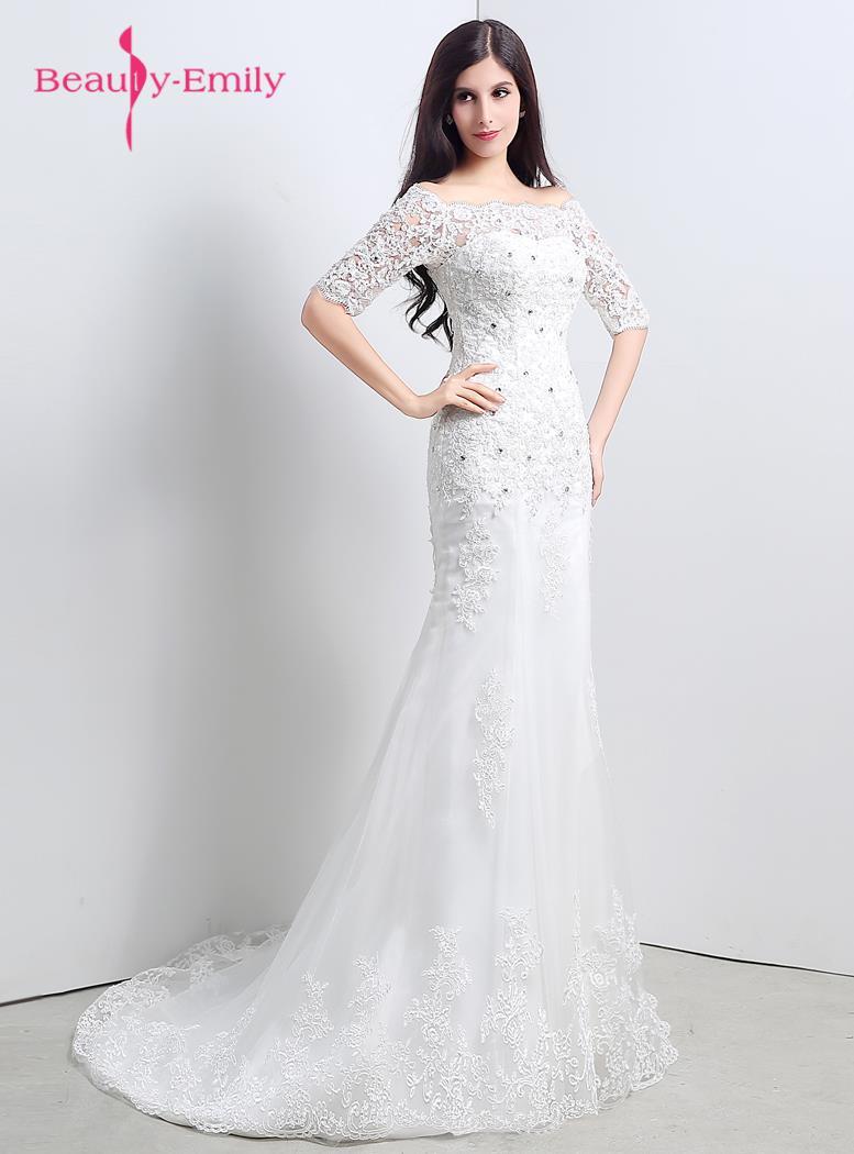 Beauty Emily Lace Long Wedding Party Dresses Mermaid Half Sleeve ...
