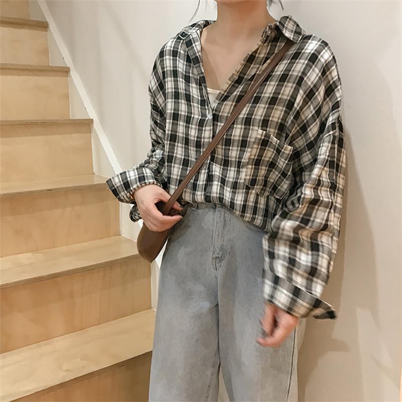 Women's Shirts Clothes Japan Kawaii Ladies Retro Casual Loose Plaid Shirt Tops Casual Female Punk Harajuku Cute Tunic For Women