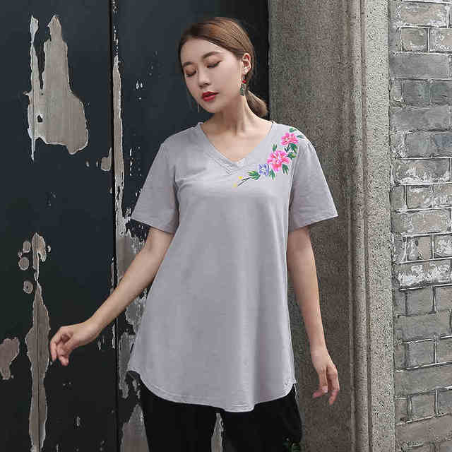 800f2d054f1 New 2018 Women Summer Cotton t shirt Plus Size loose fit Chinese style Hand  Painted V-Neck tees 3 colors big size tops XL-XXXXXL