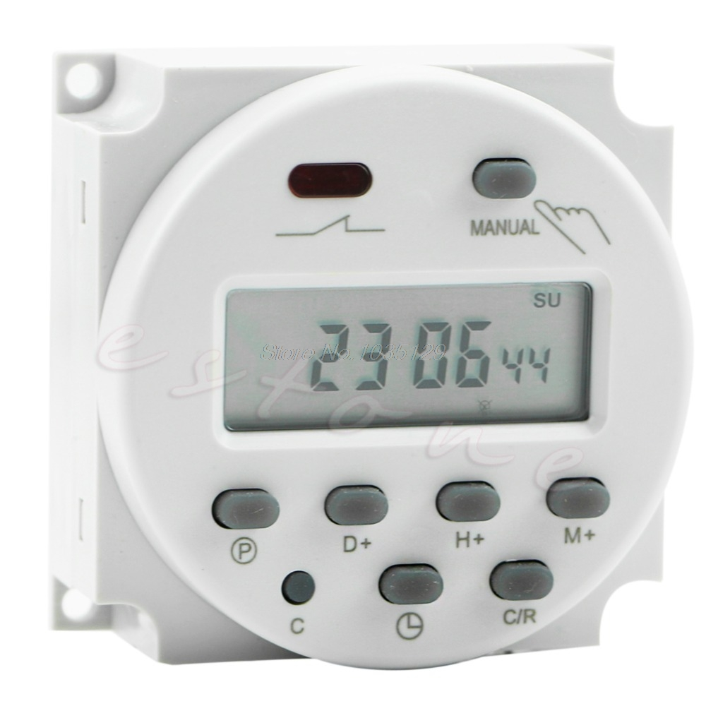 New AC 12V 16A LCD Display Digital Power Programmable Timer Time Relay Switch new high quality 16a 220v ac digital lcd weekly programmable timer time relay switch ve505 t0 41