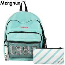 Menghuo элегантный дизайн для отдыха для девочек Школьные сумки для подростков рюкзак комплект Для женщин Дорожные сумки 3 шт./компл. рюкзак Mochila ранец