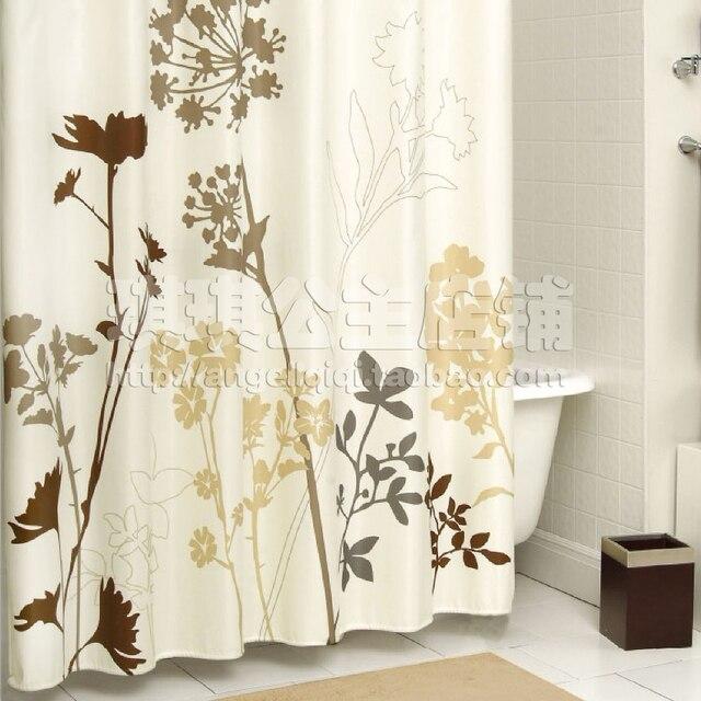 European Elegant American Thick Waterproof Polyester Shower Curtain  Bathroom Curtain Partition Curtain Beige Dandelion