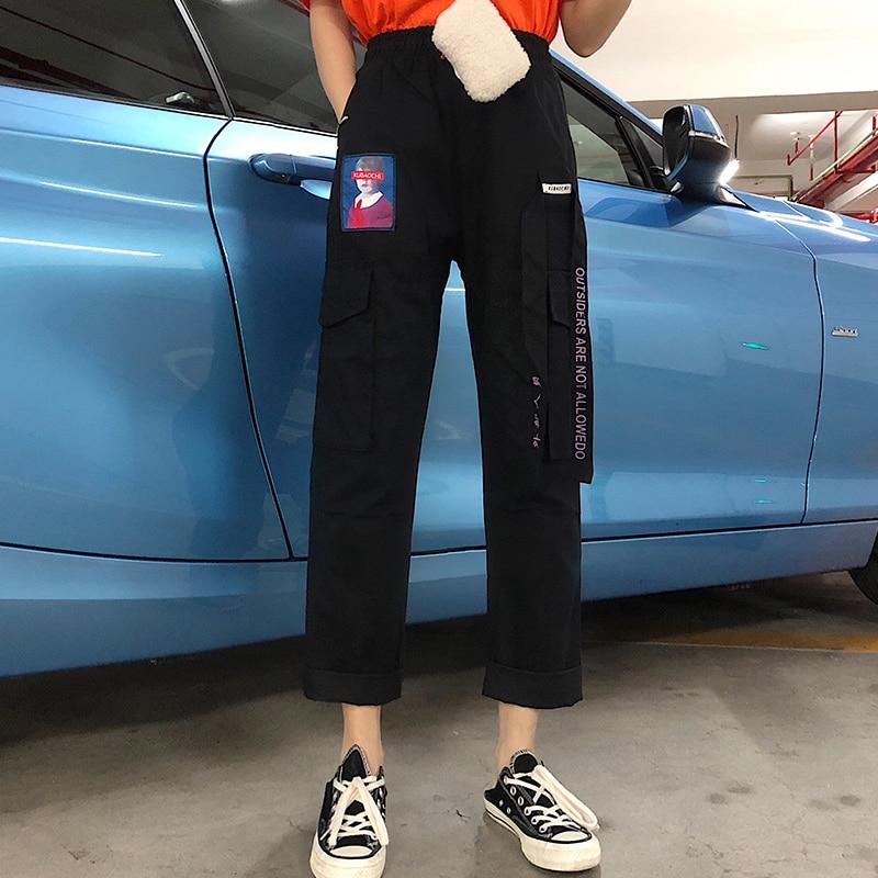 Pants Women Summer 2019 New Trendy Printed Womens Loose Elastic Waist Leisure Daily Pockets Harajuku Hip Hop Female Girls Retro 36