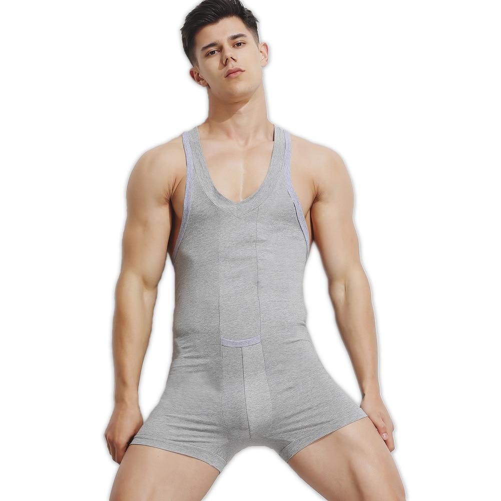 Sexy Summer Onesie Men Pajamas Bodysuit Pure Cotton Quality Onesies For Adults Singlet Male Underwear Indoorwear Pajamas Men