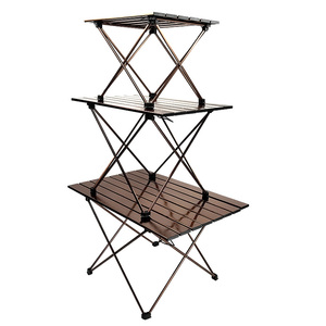 Image 2 - Big Small Brown folding portable picnic table chair  camping table outdoor furniture