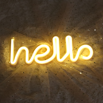 Night Light Neon Alphabet Hello Neon Lights