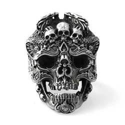 925 Sterling Silver Skull open rings for man Vintage fashion jewelry gift for your boyfriend