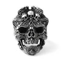 Adam için 925 Ayar Gümüş Kafatası açık yüzükler Vintage moda takı hediye erkek arkadaşın için