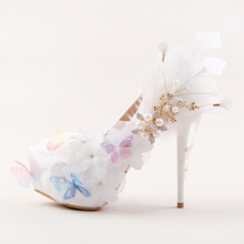 White butterfly lace flowers diamond bridal shoes Super high heel feather with banquet shoes Female wedding shoes