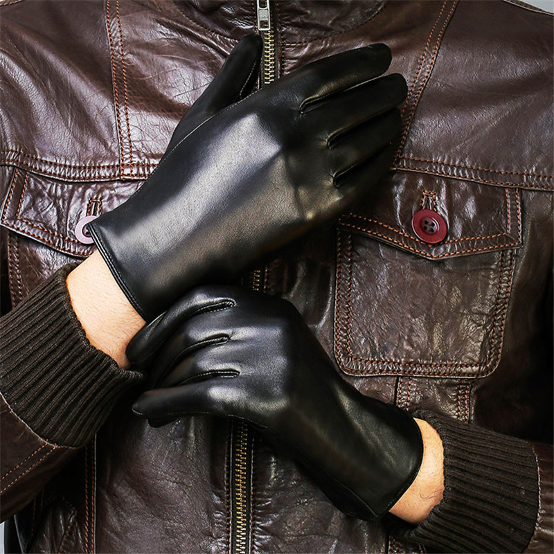Genuine Leather Gloves Male Fashion Simple Lambskin Gloves Man Black Autumn Winter Plus Velvet Thicken Warm For Driving DQ208