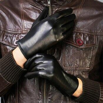 Genuine Leather Gloves Male Fashion Simple Lambskin Man Black Autumn Winter Plus Velvet Thicken Warm For Driving DQ208