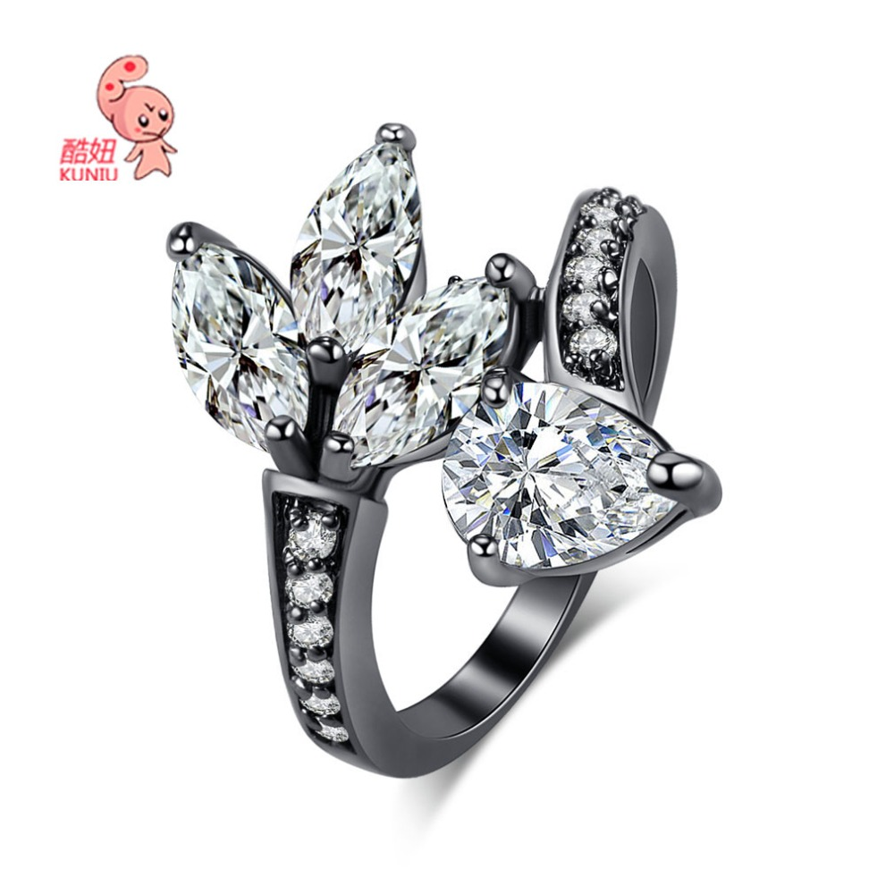 New arrivals for Black Gold Ring 316L Stainless Steel Vacuum Ion Plated White/Multicolor CZ Clover Ring Man For Women Gift 1PCS