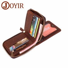 JOYIR Genuine Leather Men Wallet Small Man RFID Zipper Male Short Coin Purse Driver License Holder For