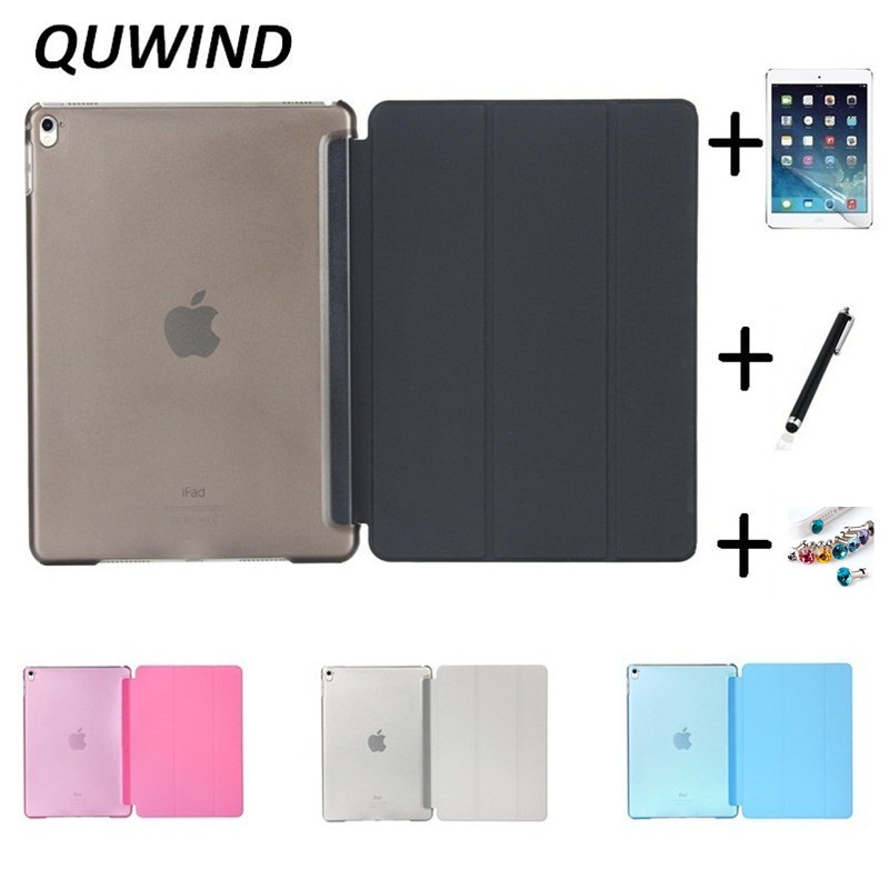 QUWIND Ultra Slim Three Fold PU Leather Crystal Hard Back Smart Stand Case Cover for iPad Air 1 2 Pro 9.7 iPad 2017 With Gift new luxury ultra slim silk tpu smart case for ipad pro 9 7 soft silicone case pu leather cover stand for ipad air 3 ipad 7 a71