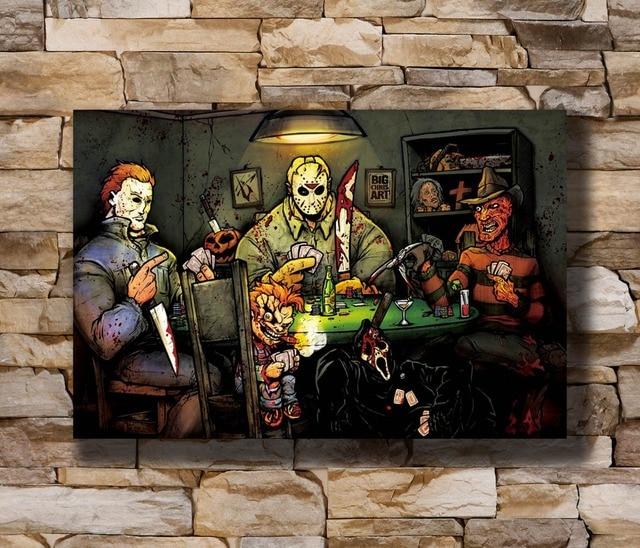 N0243 Michael Myer Slashers Playing Poker Horror Movie Big Chris