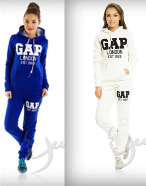 2015 girl/women sweat suits letter london hoody sweatshirt + jogger pants running cotton sport skinny tracksuit blue/white - J&G Trading Co., Ltd store