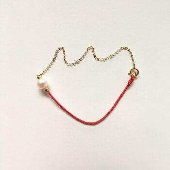 Cadena De Mano Para Mujer Perla De Agua Dulce Redonda Natural 18K Oro Media Cadena Red De Cuerda Roja Envoltura De La Red 14-18cm Joyería Personalizada